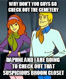 The Mystery of the Beast With Two Backs | WHY DON'T YOU GUYS GO CHECK OUT THE CEMETERY DAPHNE AND I ARE GOING TO CHECK OUT THAT SUSPICIOUS BROOM CLOSET | image tagged in funny memes,memes,cartoon,scooby doo | made w/ Imgflip meme maker