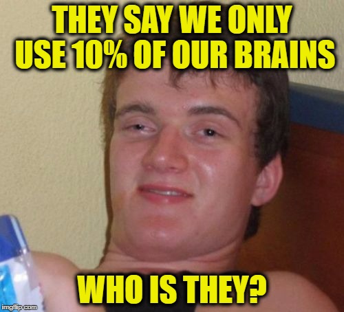 10 Guy Meme | THEY SAY WE ONLY USE 10% OF OUR BRAINS WHO IS THEY? | image tagged in memes,10 guy | made w/ Imgflip meme maker