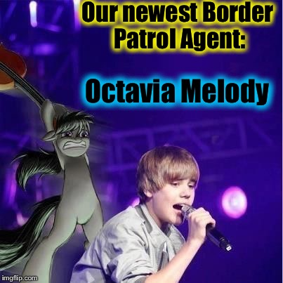 In a few seconds, I believe that the United States of America is going to have a new National Hero! | Our newest Border Patrol Agent: Octavia Melody | image tagged in octavia/bieber,memes,evilmandoevil,funny,illegal immigrant | made w/ Imgflip meme maker