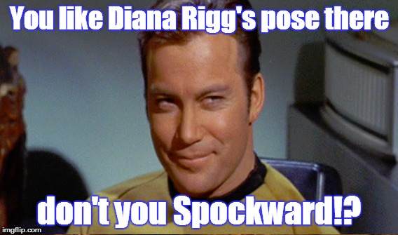 You like Diana Rigg's pose there don't you Spockward!? | made w/ Imgflip meme maker