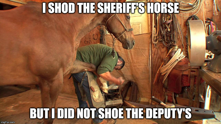 farrier at work | I SHOD THE SHERIFF'S HORSE BUT I DID NOT SHOE THE DEPUTY'S | image tagged in farrier,pun,sheriff,shoe,deputy | made w/ Imgflip meme maker