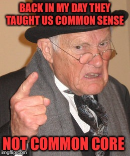 Back In My Day | BACK IN MY DAY THEY TAUGHT US COMMON SENSE NOT COMMON CORE | image tagged in memes,back in my day | made w/ Imgflip meme maker