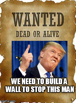 wanted dead or alive | WE NEED TO BUILD A WALL TO STOP THIS MAN | image tagged in wanted dead or alive | made w/ Imgflip meme maker