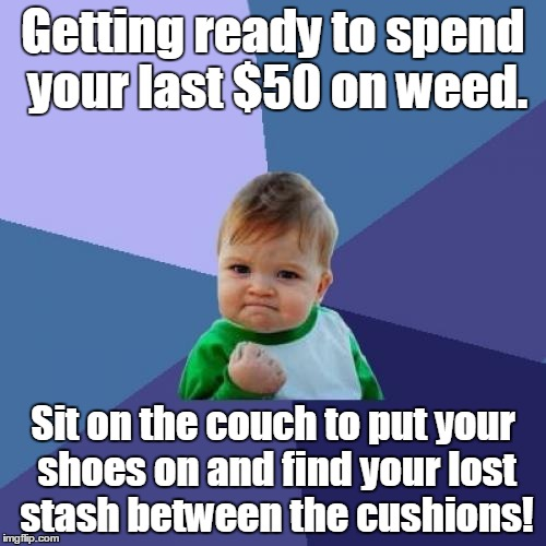 Success Kid | Getting ready to spend your last $50 on weed. Sit on the couch to put your shoes on and find your lost stash between the cushions! | image tagged in memes,success kid | made w/ Imgflip meme maker