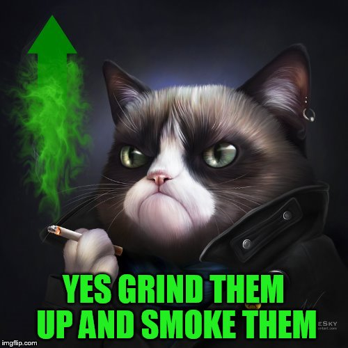 YES GRIND THEM UP AND SMOKE THEM | made w/ Imgflip meme maker