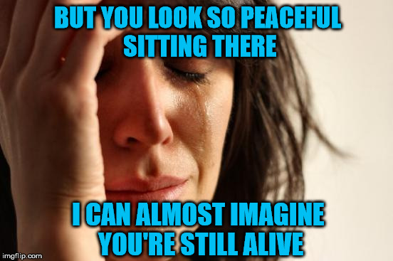First World Problems Meme | BUT YOU LOOK SO PEACEFUL SITTING THERE I CAN ALMOST IMAGINE YOU'RE STILL ALIVE | image tagged in memes,first world problems | made w/ Imgflip meme maker