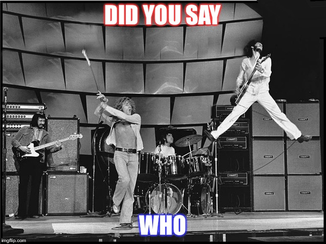 The Who | DID YOU SAY WHO | image tagged in the who | made w/ Imgflip meme maker