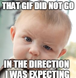 Skeptical Baby Meme | THAT GIF DID NOT GO IN THE DIRECTION I WAS EXPECTING | image tagged in memes,skeptical baby | made w/ Imgflip meme maker