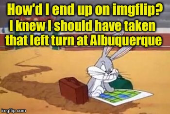 Cartoon week, a Jucydeath1025 event | How'd I end up on imgflip? I knew I should have taken that left turn at Albuquerque | image tagged in bugs lost,cartoon week | made w/ Imgflip meme maker