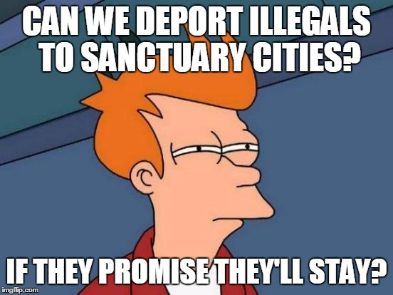 Futurama Fry Meme | CAN WE DEPORT ILLEGALS TO SANCTUARY CITIES? IF THEY PROMISE THEY'LL STAY? | image tagged in memes,futurama fry | made w/ Imgflip meme maker