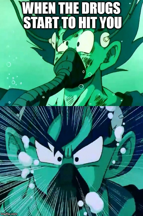 Goku recuperado |  WHEN THE DRUGS START TO HIT YOU | image tagged in goku recuperado | made w/ Imgflip meme maker