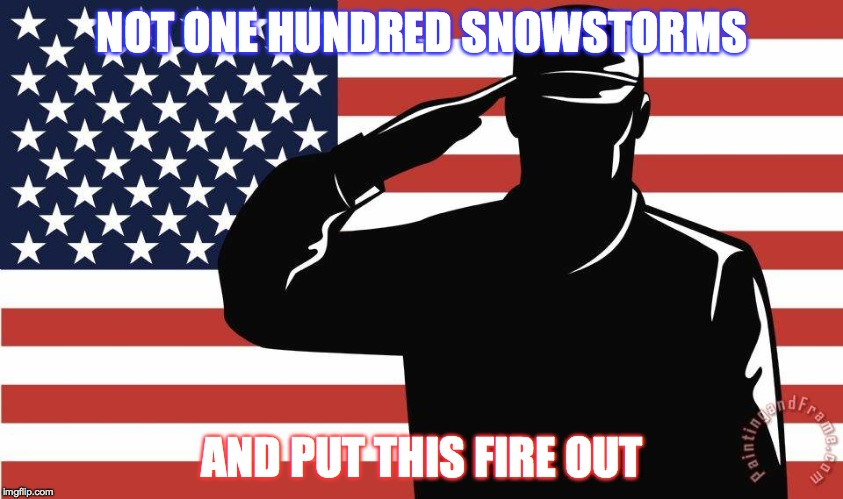 saluting soldier | NOT ONE HUNDRED SNOWSTORMS AND PUT THIS FIRE OUT | image tagged in saluting soldier | made w/ Imgflip meme maker