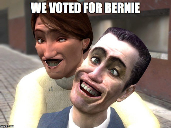 garrys mod derp | WE VOTED FOR BERNIE | image tagged in garrys mod derp | made w/ Imgflip meme maker