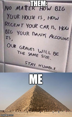 When someone tries to cut you down to size | THEM: ME | image tagged in memes,pyramids,ironic | made w/ Imgflip meme maker