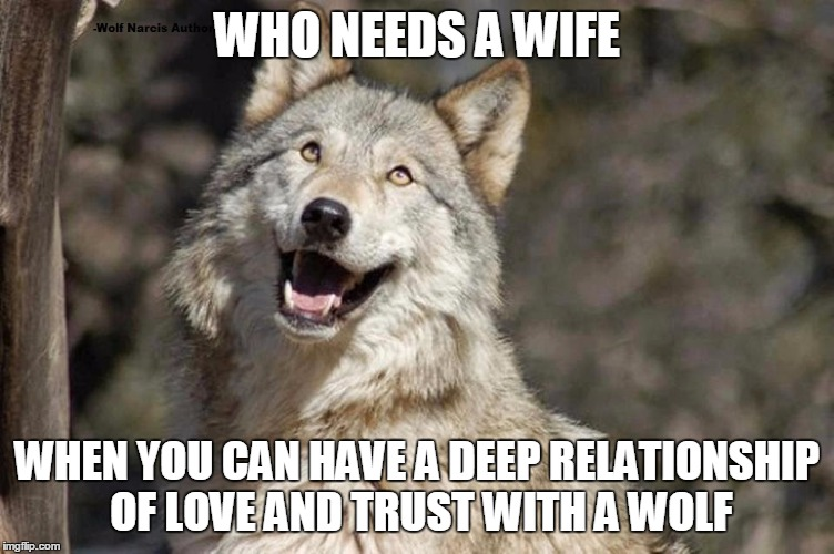Optimistic Moon Moon Wolf Vanadium Wolf | WHO NEEDS A WIFE WHEN YOU CAN HAVE A DEEP RELATIONSHIP OF LOVE AND TRUST WITH A WOLF | image tagged in optimistic moon moon wolf vanadium wolf | made w/ Imgflip meme maker