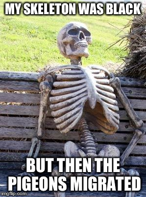 Waiting Skeleton | MY SKELETON WAS BLACK BUT THEN THE PIGEONS MIGRATED | image tagged in memes,waiting skeleton | made w/ Imgflip meme maker