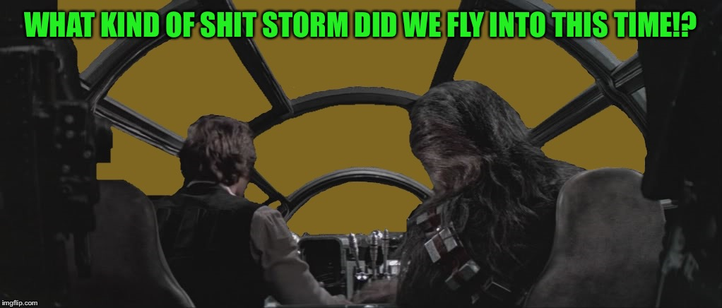 The odds of survival are a mere 6.72 percent  | WHAT KIND OF SHIT STORM DID WE FLY INTO THIS TIME!? | image tagged in millennium falcon with han and chewie overlay,foreground template,star wars,some assembly required | made w/ Imgflip meme maker