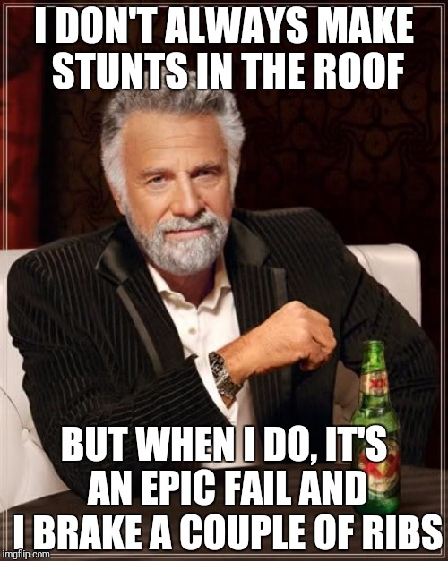 The Most Interesting Man In The World Meme | I DON'T ALWAYS MAKE STUNTS IN THE ROOF BUT WHEN I DO, IT'S AN EPIC FAIL AND I BRAKE A COUPLE OF RIBS | image tagged in memes,the most interesting man in the world | made w/ Imgflip meme maker