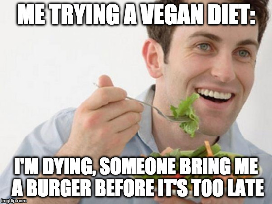 ME TRYING A VEGAN DIET: I'M DYING, SOMEONE BRING ME A BURGER BEFORE IT'S TOO LATE | made w/ Imgflip meme maker