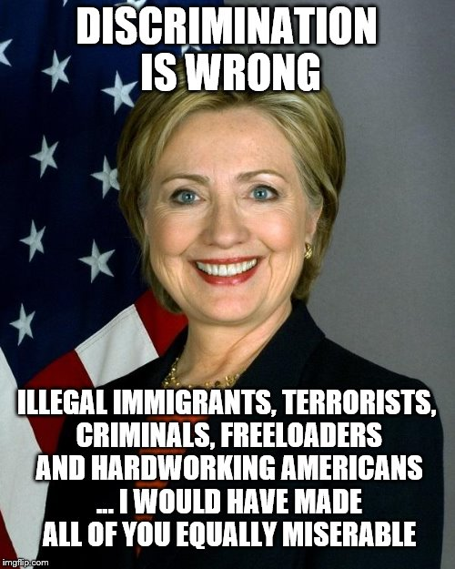 The fundamental difference | DISCRIMINATION IS WRONG ILLEGAL IMMIGRANTS, TERRORISTS, CRIMINALS, FREELOADERS AND HARDWORKING AMERICANS ... I WOULD HAVE MADE ALL OF YOU EQ | image tagged in memes,hillary clinton,discrimination | made w/ Imgflip meme maker