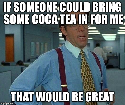 That Would Be Great Meme | IF SOMEONE COULD BRING SOME COCA TEA IN FOR ME THAT WOULD BE GREAT | image tagged in memes,that would be great | made w/ Imgflip meme maker