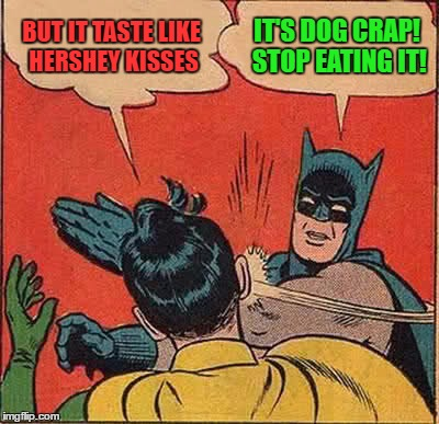 Batman Slapping Robin Meme | BUT IT TASTE LIKE HERSHEY KISSES IT'S DOG CRAP! STOP EATING IT! | image tagged in memes,batman slapping robin | made w/ Imgflip meme maker