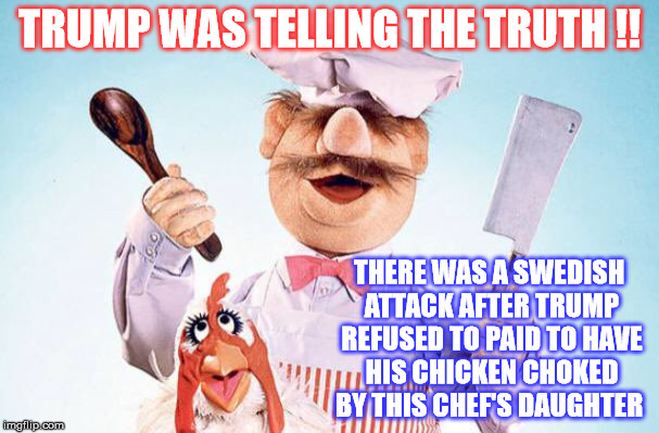 He will Pay with his Swedish Meatballs! | TRUMP WAS TELLING THE TRUTH !! THERE WAS A SWEDISH ATTACK AFTER TRUMP REFUSED TO PAID TO HAVE HIS CHICKEN CHOKED BY THIS CHEF'S DAUGHTER | image tagged in trump,swedish chef | made w/ Imgflip meme maker