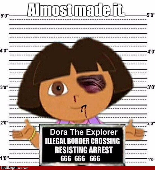 Dora | Almost made it. | image tagged in dora | made w/ Imgflip meme maker