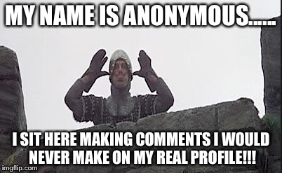 fart | MY NAME IS ANONYMOUS...... I SIT HERE MAKING COMMENTS I WOULD NEVER MAKE ON MY REAL PROFILE!!! | image tagged in fart | made w/ Imgflip meme maker