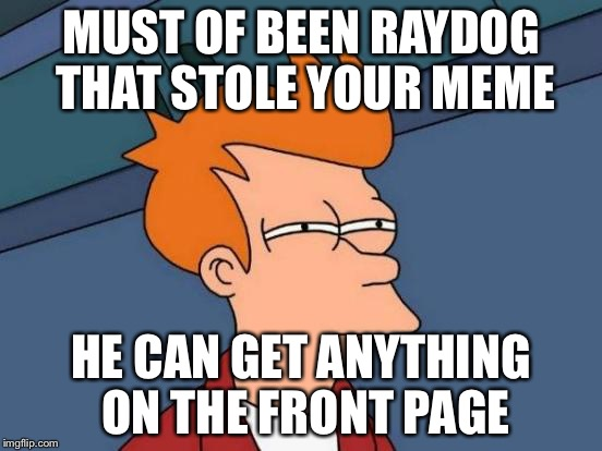 Futurama Fry Meme | MUST OF BEEN RAYDOG THAT STOLE YOUR MEME HE CAN GET ANYTHING ON THE FRONT PAGE | image tagged in memes,futurama fry | made w/ Imgflip meme maker