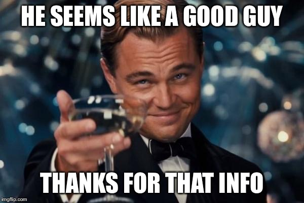 Leonardo Dicaprio Cheers Meme | HE SEEMS LIKE A GOOD GUY THANKS FOR THAT INFO | image tagged in memes,leonardo dicaprio cheers | made w/ Imgflip meme maker