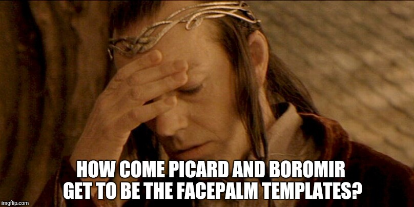 Upvote if you think Lord Elrond is as good as Picard and Boromir at facepalming  | HOW COME PICARD AND BOROMIR GET TO BE THE FACEPALM TEMPLATES? | image tagged in lord elrond,captain picard facepalm,facepalm,frustrated boromir,lord of the rings,memes | made w/ Imgflip meme maker