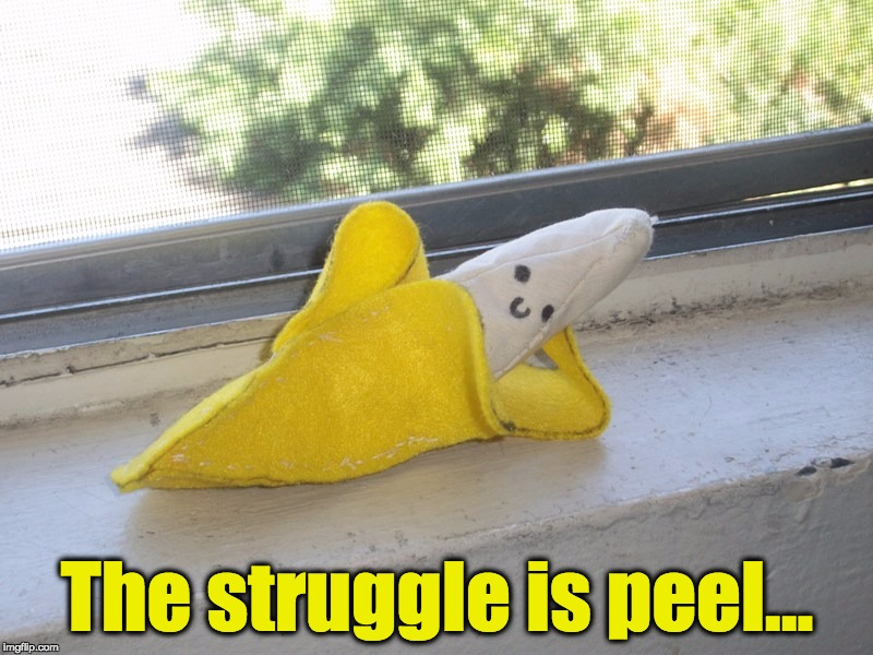 Seductive Banana | The struggle is peel... | image tagged in seductive banana | made w/ Imgflip meme maker