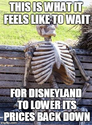 Never Is An Awfully Long Time | THIS IS WHAT IT FEELS LIKE TO WAIT FOR DISNEYLAND TO LOWER ITS PRICES BACK DOWN | image tagged in memes,waiting skeleton | made w/ Imgflip meme maker