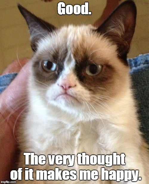 Grumpy Cat Meme | Good. The very thought of it makes me happy. | image tagged in memes,grumpy cat | made w/ Imgflip meme maker