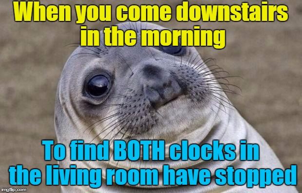 1 am and 6 am. I'm not really superstitious but it must be a sign of something  |  When you come downstairs in the morning; To find BOTH clocks in the living room have stopped | image tagged in memes,awkward moment sealion,clocks,superstition | made w/ Imgflip meme maker