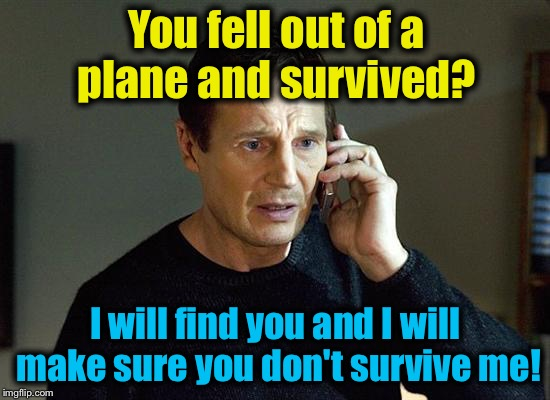 You fell out of a plane and survived? I will find you and I will make sure you don't survive me! | made w/ Imgflip meme maker