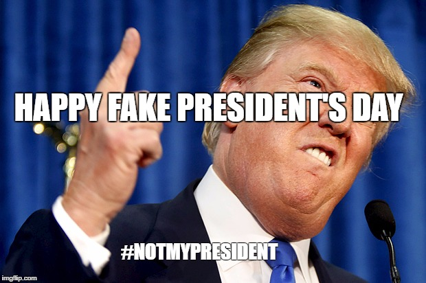 Donald Trump | HAPPY FAKE PRESIDENT'S DAY #NOTMYPRESIDENT | image tagged in donald trump | made w/ Imgflip meme maker