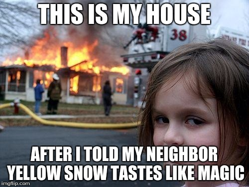 Disaster Girl Meme | THIS IS MY HOUSE AFTER I TOLD MY NEIGHBOR YELLOW SNOW TASTES LIKE MAGIC | image tagged in memes,disaster girl | made w/ Imgflip meme maker