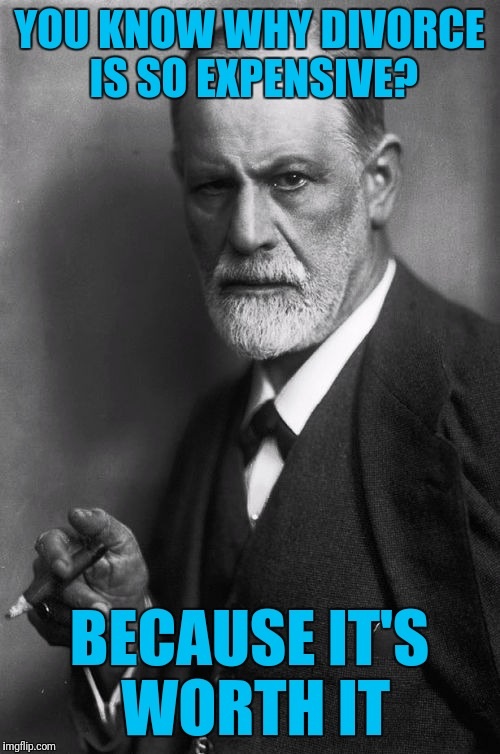 Sigmund Freud | YOU KNOW WHY DIVORCE IS SO EXPENSIVE? BECAUSE IT'S WORTH IT | image tagged in memes,sigmund freud | made w/ Imgflip meme maker