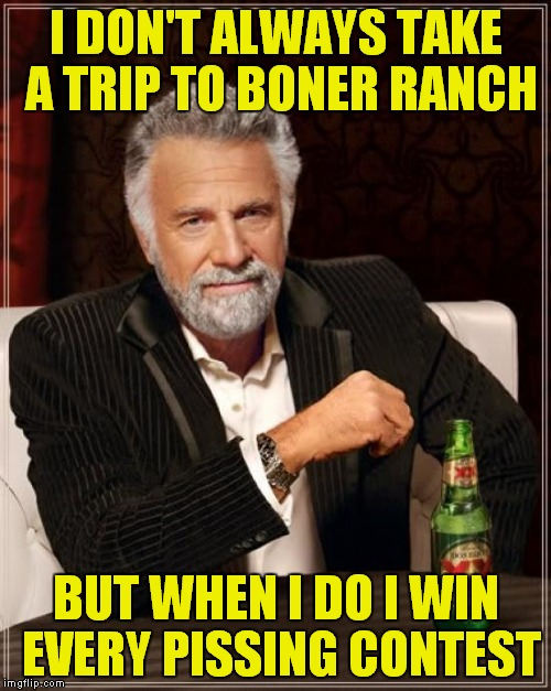 The Most Interesting Man In The World Meme | I DON'T ALWAYS TAKE A TRIP TO BONER RANCH BUT WHEN I DO I WIN EVERY PISSING CONTEST | image tagged in memes,the most interesting man in the world | made w/ Imgflip meme maker