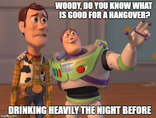 X, X Everywhere Meme | WOODY, DO YOU KNOW WHAT IS GOOD FOR A HANGOVER? DRINKING HEAVILY THE NIGHT BEFORE | image tagged in memes,x,x everywhere,x x everywhere | made w/ Imgflip meme maker