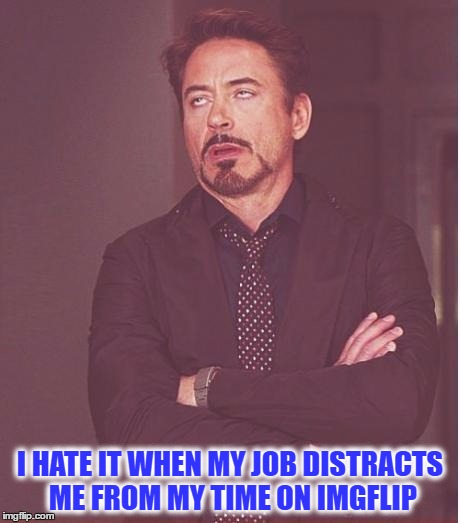 Face You Make Robert Downey Jr Meme | I HATE IT WHEN MY JOB DISTRACTS ME FROM MY TIME ON IMGFLIP | image tagged in memes,face you make robert downey jr | made w/ Imgflip meme maker
