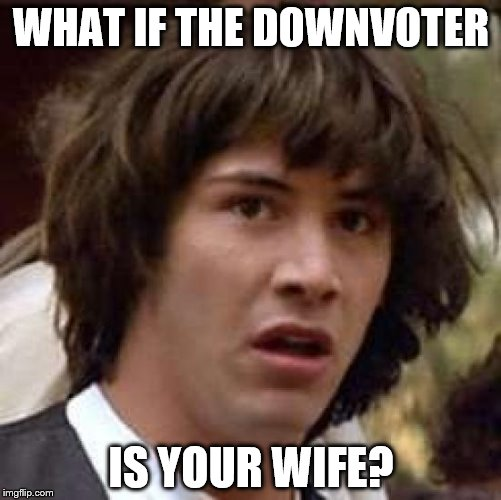Conspiracy Keanu Meme | WHAT IF THE DOWNVOTER IS YOUR WIFE? | image tagged in memes,conspiracy keanu | made w/ Imgflip meme maker