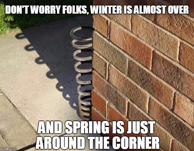 A welcome sight in the Northeast indeed. | DON'T WORRY FOLKS, WINTER IS ALMOST OVER AND SPRING IS JUST AROUND THE CORNER | image tagged in spring,winter | made w/ Imgflip meme maker