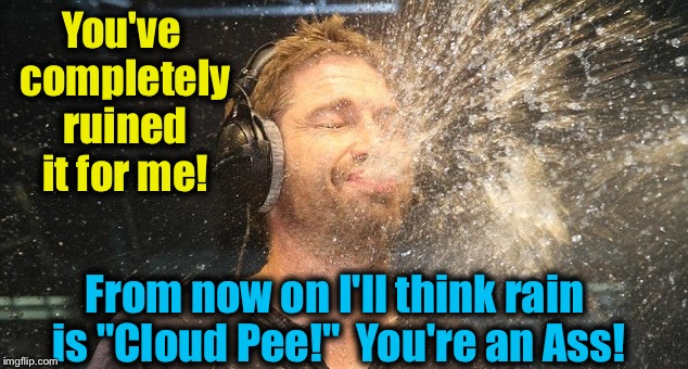 "You've completely ruined it for me! From now on I'll think rain is ""Cloud Pee!""  You're an Ass! 
