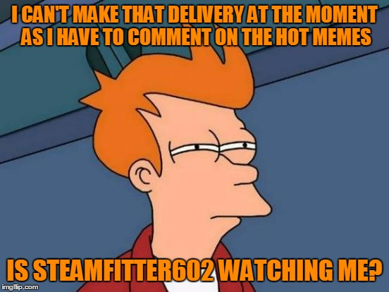 Futurama Fry Meme | I CAN'T MAKE THAT DELIVERY AT THE MOMENT AS I HAVE TO COMMENT ON THE HOT MEMES IS STEAMFITTER602 WATCHING ME? | image tagged in memes,futurama fry | made w/ Imgflip meme maker