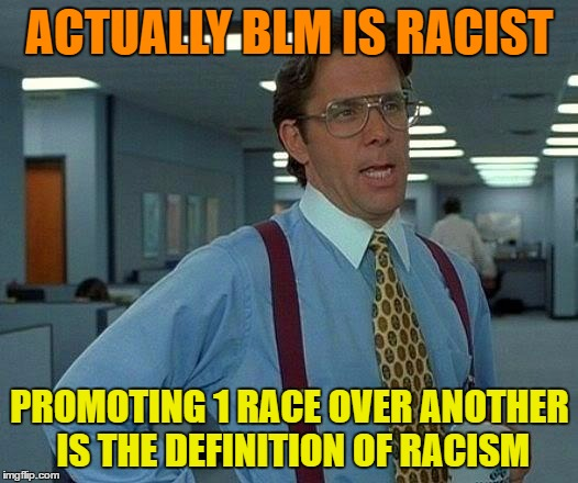 That Would Be Great Meme | ACTUALLY BLM IS RACIST PROMOTING 1 RACE OVER ANOTHER IS THE DEFINITION OF RACISM | image tagged in memes,that would be great | made w/ Imgflip meme maker