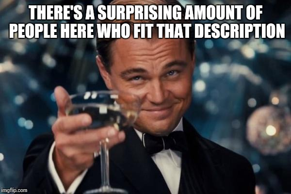 Leonardo Dicaprio Cheers Meme | THERE'S A SURPRISING AMOUNT OF PEOPLE HERE WHO FIT THAT DESCRIPTION | image tagged in memes,leonardo dicaprio cheers | made w/ Imgflip meme maker