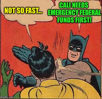 Batman Slapping Robin Meme | NOT SO FAST... CALI NEEDS EMERGENCY FEDERAL FUNDS FIRST! | image tagged in memes,batman slapping robin | made w/ Imgflip meme maker
